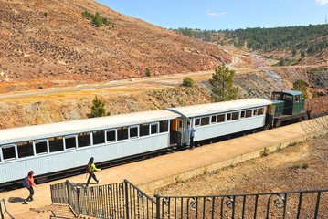 Tren turístico de Minas de Río Tinto, Huelva, España