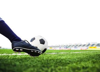 foot shooting football isolated