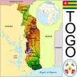 Togo Africa national emblem map symbol location