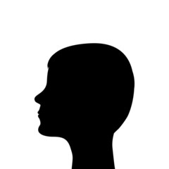 silhouette of a man's head on a white background