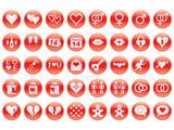 set of round Day of Valentine icons