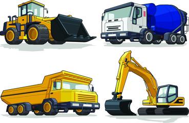 Bulldozer, Cement Truck, Haultruck & Excavator