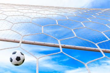 soccer ball may be in goal net