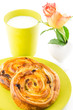 golden brown baked pastry, milk and flower