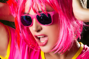 Fashionable Pink Party Girl. Sensual mouth