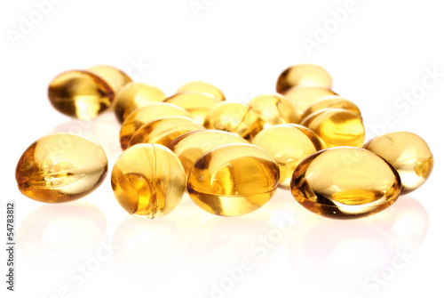 fish oil capsules  isolated on white background