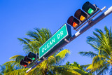 street sign of famous street Ocean Drive in Miami South