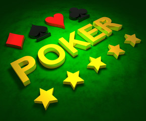 Golden word POKER, card sign and stars