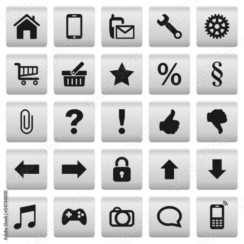 Set 1: Grey Silver Web Buttons Icons