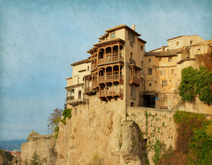 Hanging Houses in Cuenca, Spain. paper texture