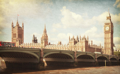 The Palace of Westminster.  Toned image. aged paper texture.