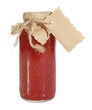 Homemade tomato sauce ketchup in glass jar