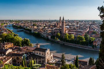 View of city of Verona across Adige river