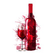 Bottle and glass of wine made of colorful splashes - 54786841