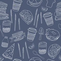 Food seamless pattern. Hand drawn vector
