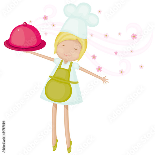 Joyful chef girl with fresh aromatic dish
