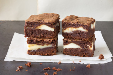 Pieces of chocolate cheesecake brownies