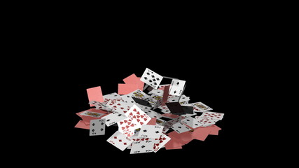 Playing card house falling