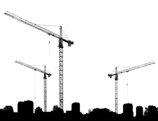 Construction site with cranes and silhouettes buildings