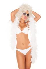 sexy woman wearing white bikini