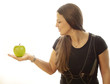 Frau mit 1 Apfel zur gesunden Ernährung