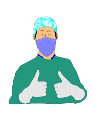 male doctor in scrubs with thumbs up for success