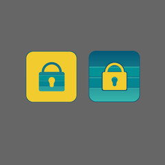 User interface flat lock icons
