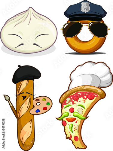 Chinese Bun, French Bread, Pizza Chef & Police Doughnut