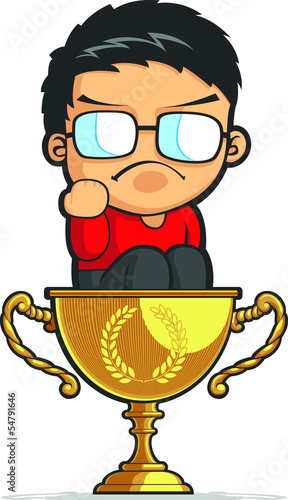 Kid Making Success Fist on Achievement Trophy