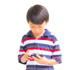 young boy using mobile phone