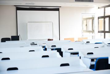 Empty college classroom