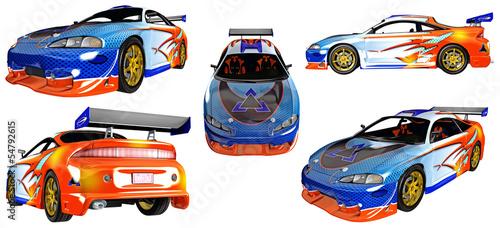 Rennwagen / Sportwagen aus verschiednenen Perspektiven