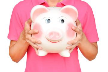 women hold Pink piggy bank
