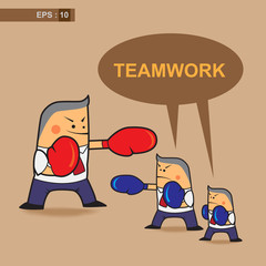 business cartoon fighter teamwork