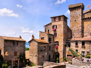 Towers of the medieval neighborhood of Bolsena, Italy