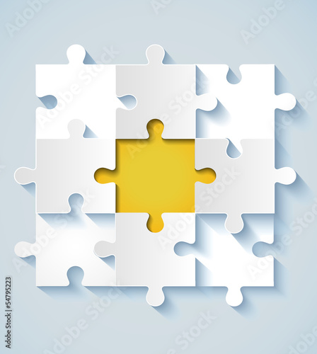Paper puzzle with yellow the middle for business concepts