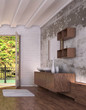 Tropical bathroom interior with window and landscape view