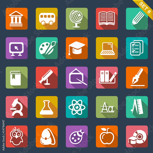 Education icon set- flat design