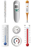 Six different types of thermometers set.Vector