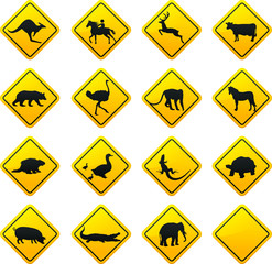 Animal traffic sign.Vector