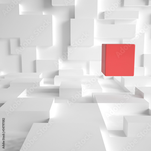 3d rendering of red cube in a futuristic room
