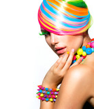 Beauty Girl Portrait with Colorful Makeup, Hair and Accessories - 54797641