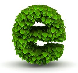 Leaves font letter e lowercase