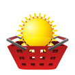 red basket and shiny sun vector