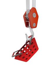 crane hook lifting red shopping basket vector
