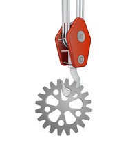 crane hook lifting steel cogwheel vector
