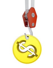 crane hook lifting golden american dollar coin vector