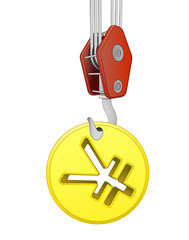 crane hook lifting golden yuan or yen coin vector