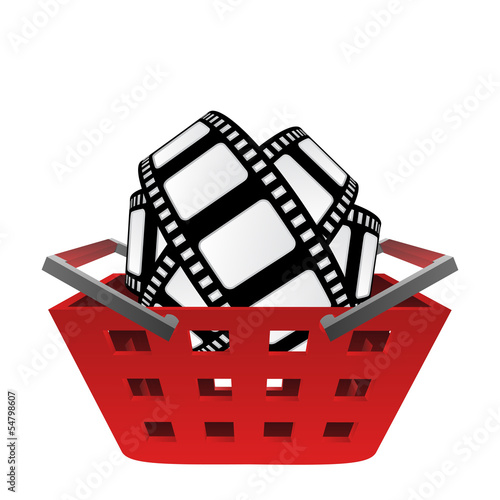 red basket and movie tape vector