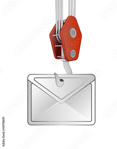 crane hook lifting white envelope vector